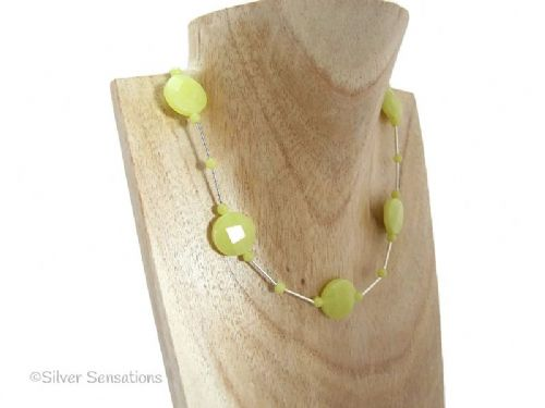 Yellow Olive Jade Faceted Coins & Sterling Silver Tubes Necklace